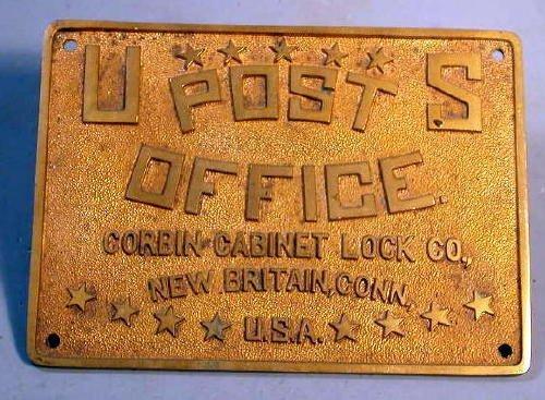 15: USPS Bronze Plaque Corbin Cabinet Lock Co