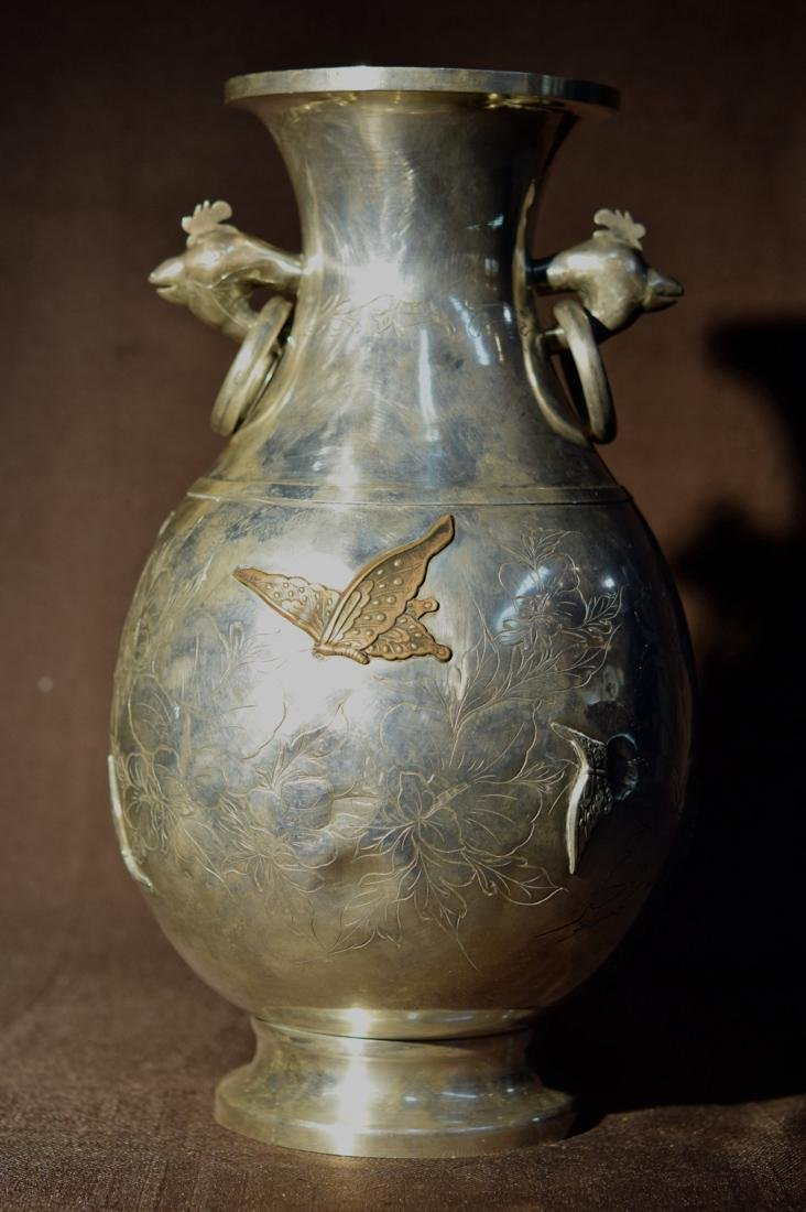Japanese Sterling Silver Vase with Mixed Metal