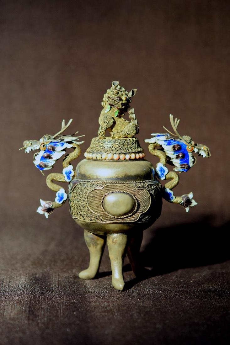 Chinese Filigree Silver Censer with Dragon Motif