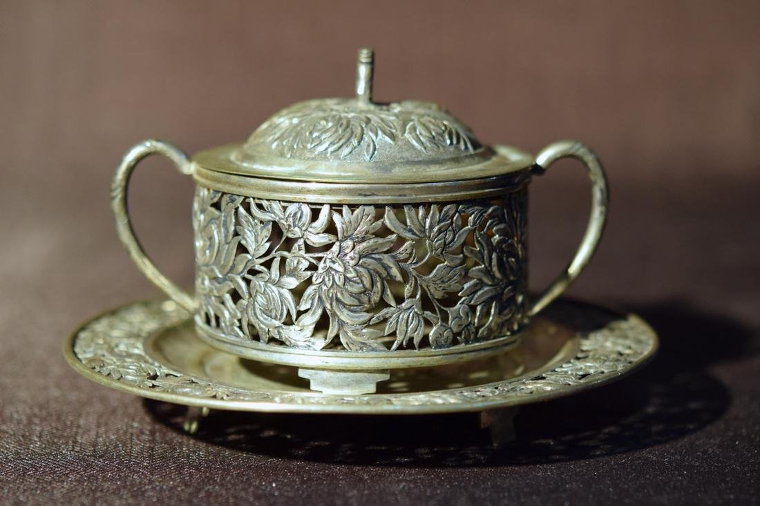 Chinese Export Silver Plate and Bowl - Floral Motif