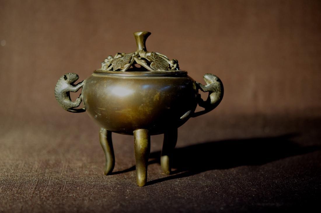 Chinese Bronze Censer with Squirrel