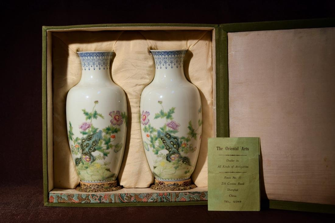 Pair Chinese Republic Vases with Fitted Box