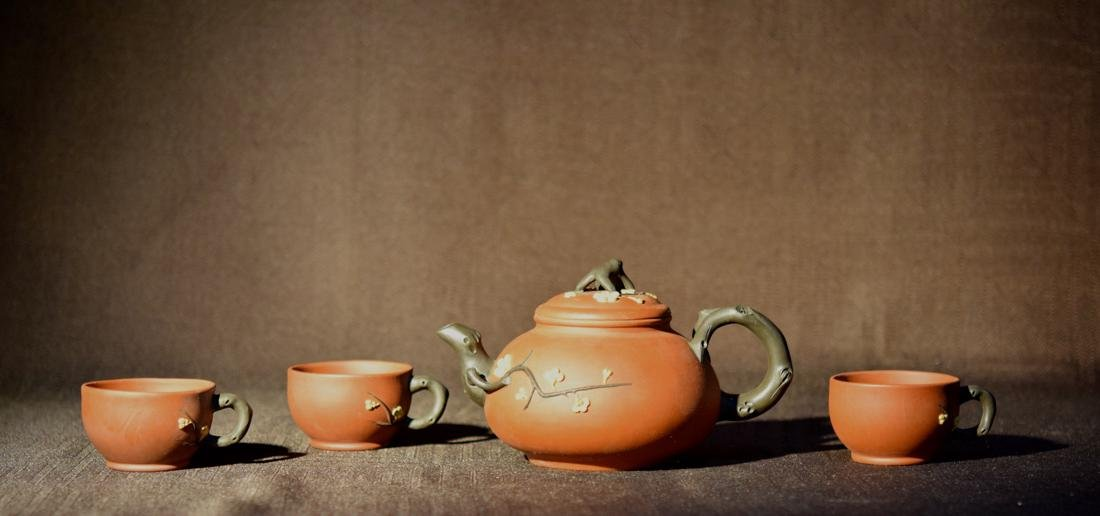 Set Chinese Yixin Teapot with Three Cups