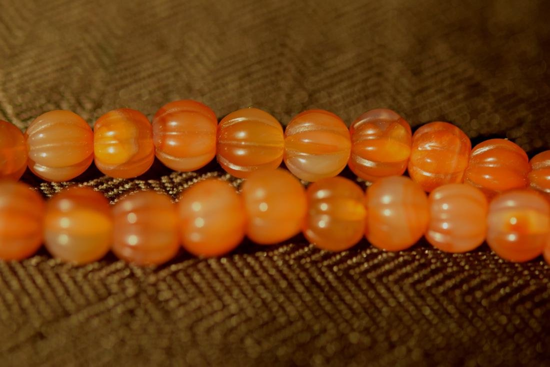 Chinese Agate Beads Necklace of Melon Shaped with Frog - 5