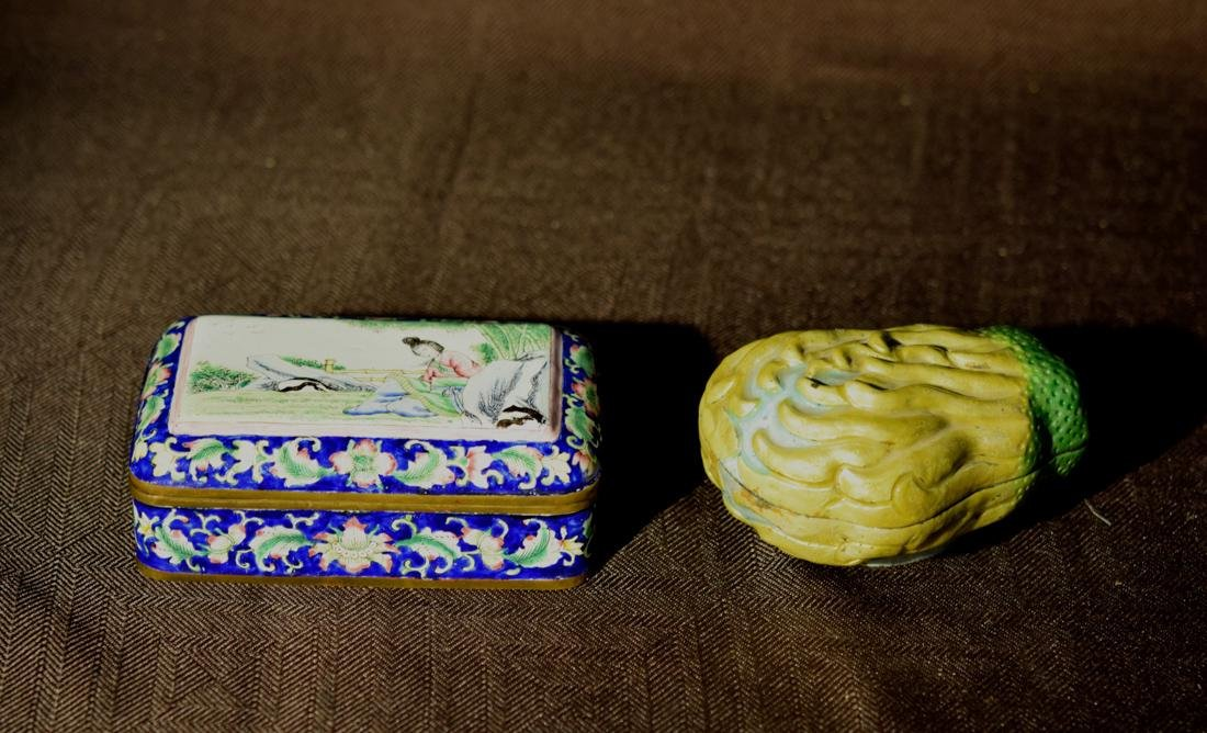 Group of Two Chinese Enamle Article