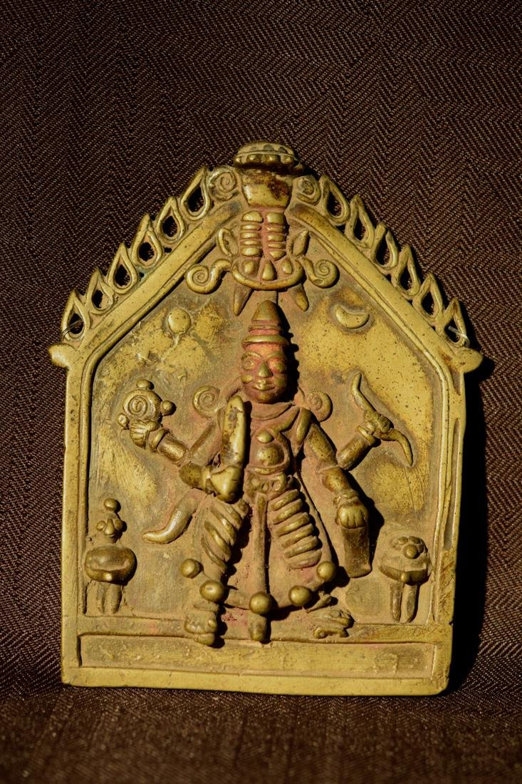 Antique Indian Bronze Plaque with Diety of Multi Hand