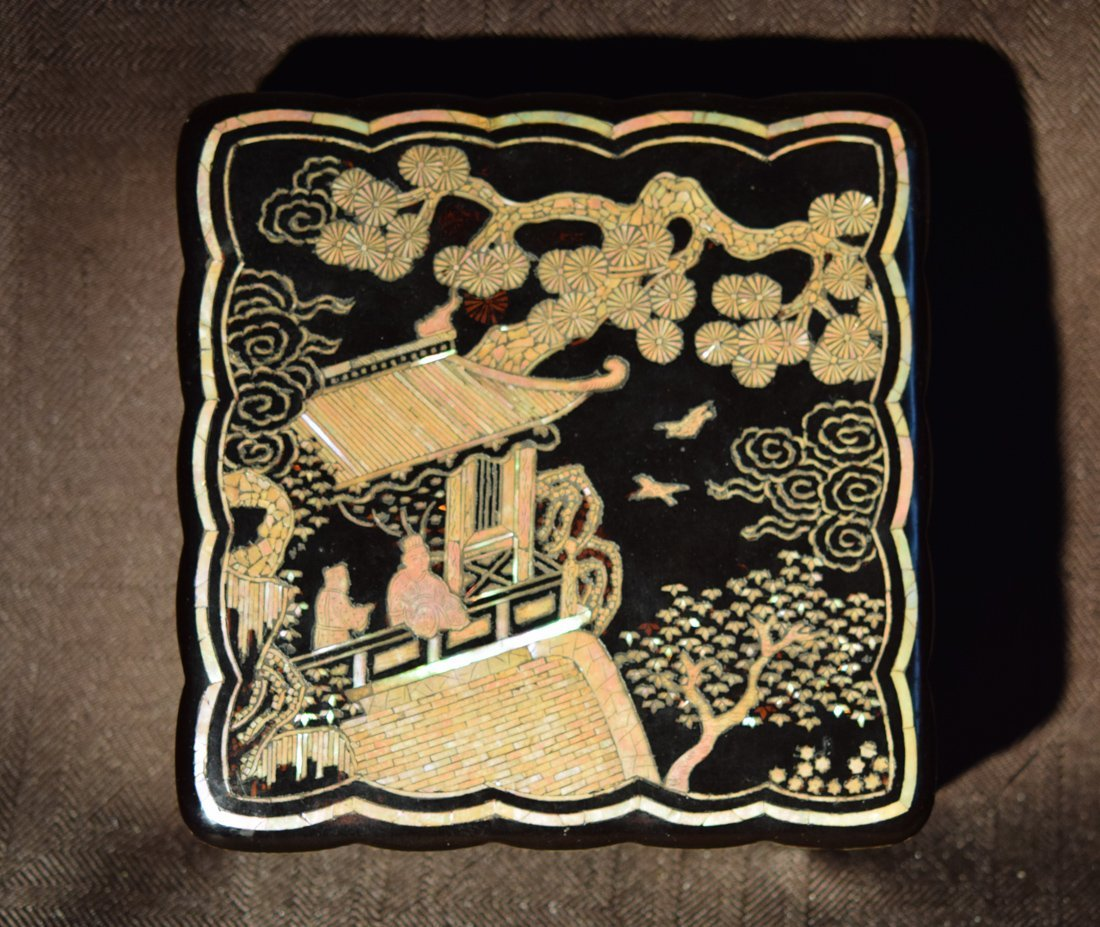 Chinese Early Qing Lacquer Box with Mother of Pearl
