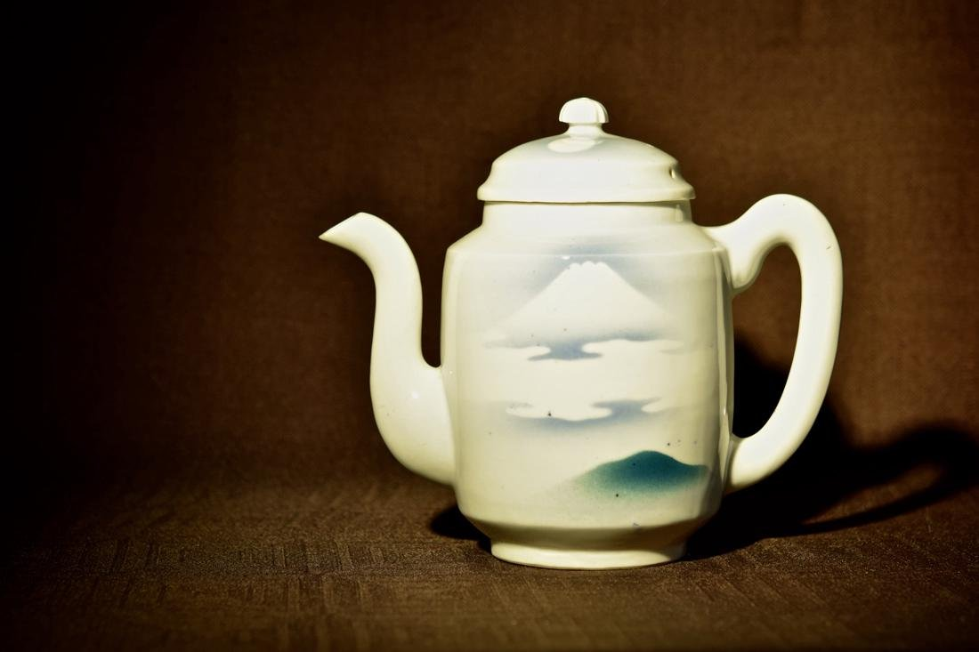 Japanese Porcelain Teapot with Horse Scene
