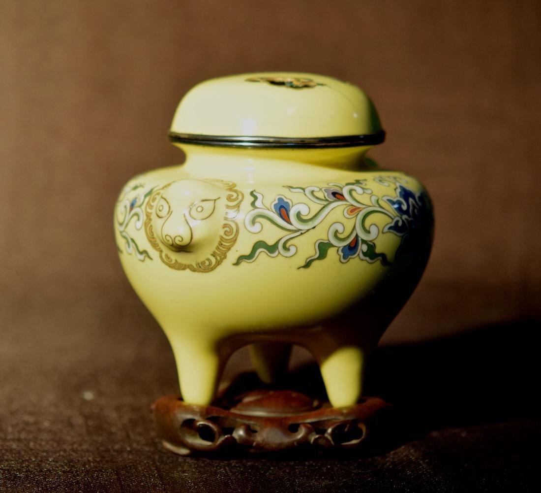 Japanese Yellow Cloisonne Censer - Signed - 4