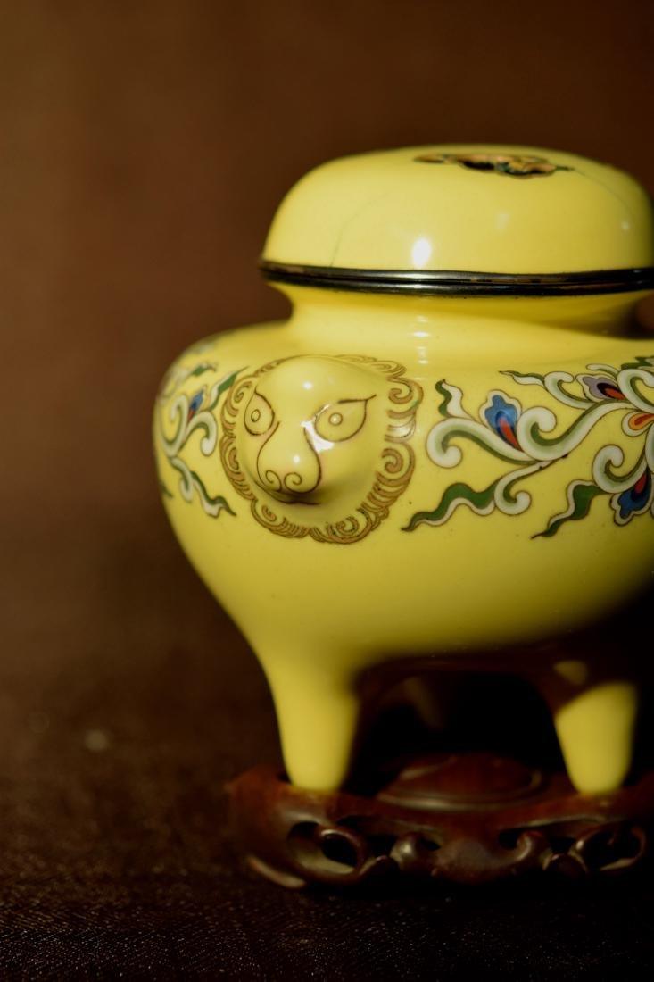 Japanese Yellow Cloisonne Censer - Signed - 6