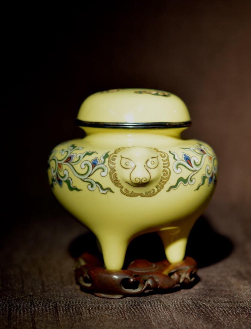 Japanese Yellow Cloisonne Censer - Signed - 7