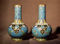 Pair Antique Chinese Cloisonne Tianchung Vases