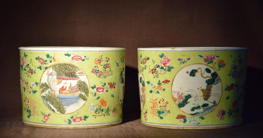 Pair Chinese Famille Rose Porcelain Planters