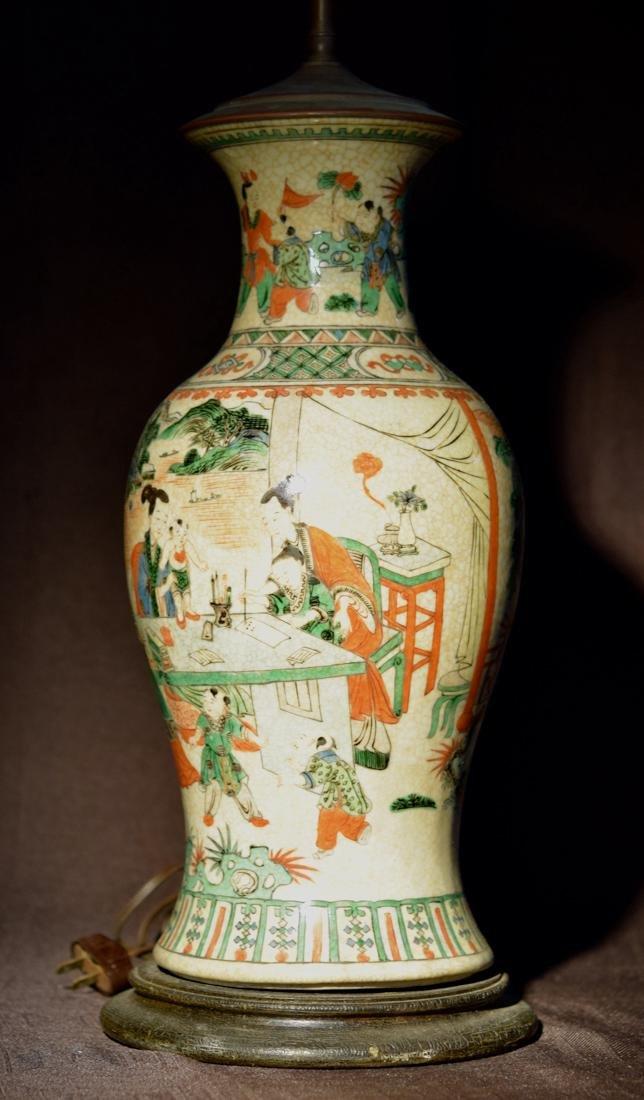 Chinese Famille Verte Porcelain Vase Lamp