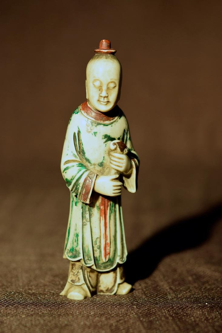 Chinese Soapstone Boy with polychrome