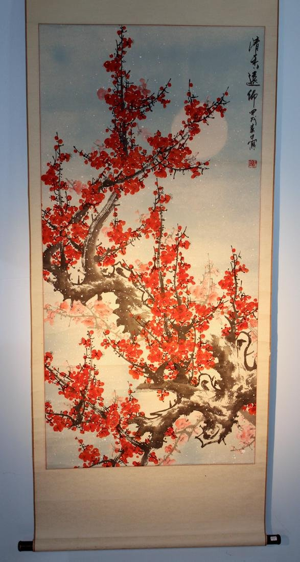 Chinese Scroll Painting of Red Plum Blossom