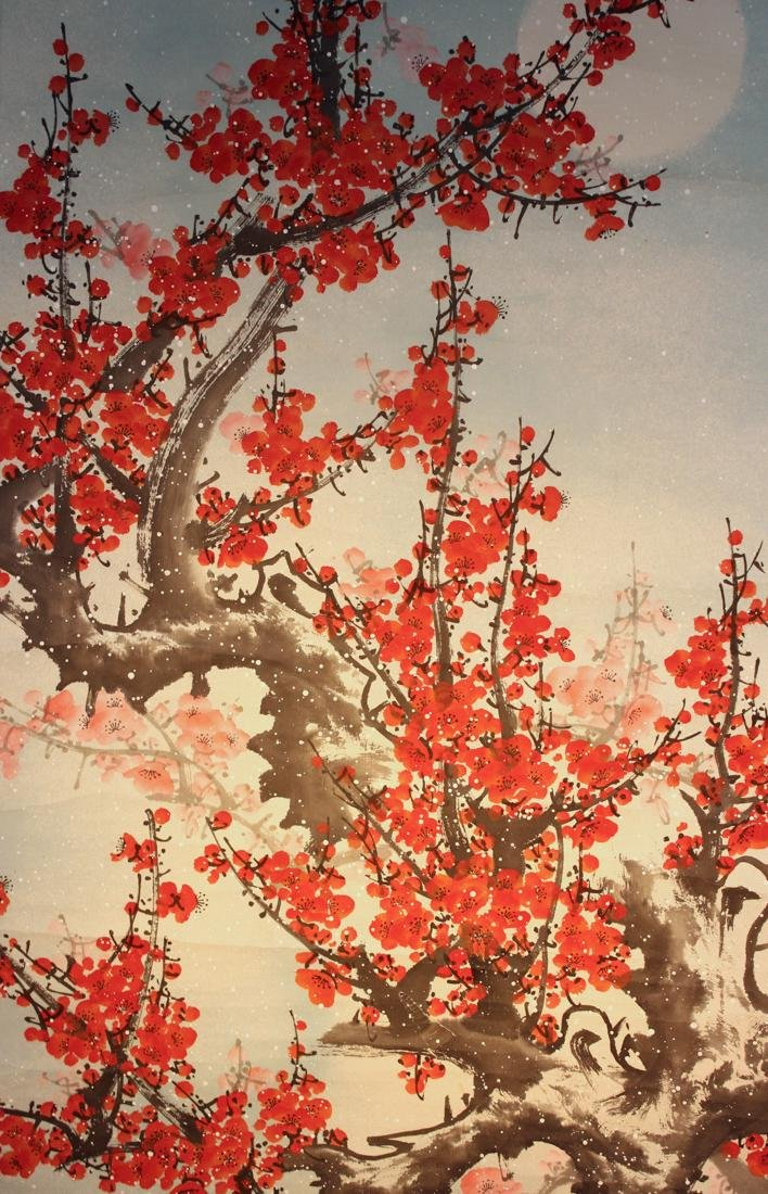 Chinese Scroll Painting of Red Plum Blossom - 2