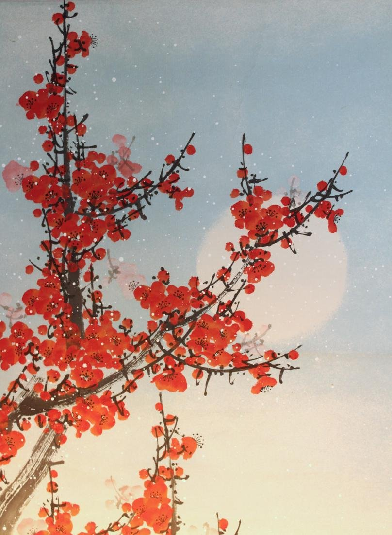 Chinese Scroll Painting of Red Plum Blossom - 3