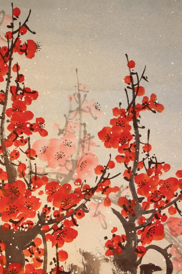 Chinese Scroll Painting of Red Plum Blossom - 4