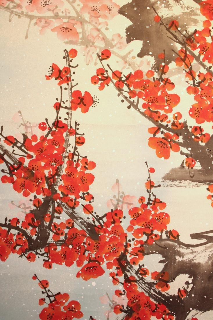Chinese Scroll Painting of Red Plum Blossom - 5