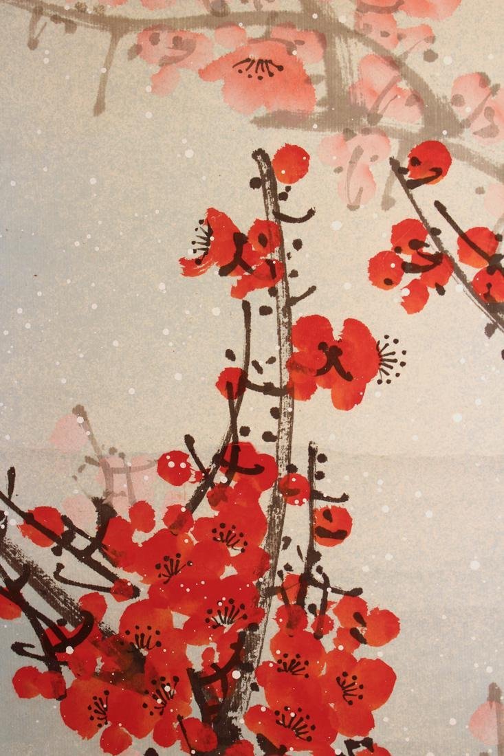 Chinese Scroll Painting of Red Plum Blossom - 6