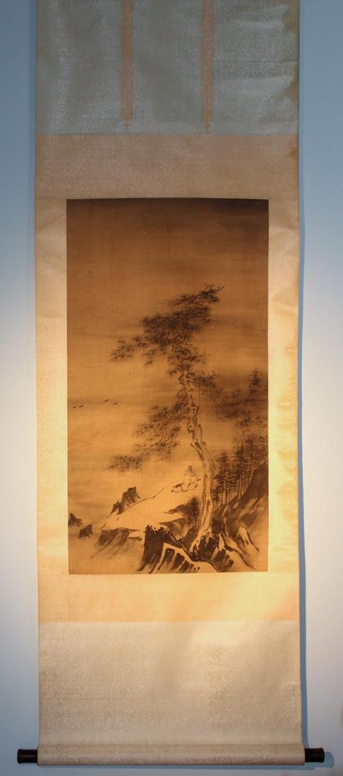 Chinese Scroll Painting - Scholar Under Pine