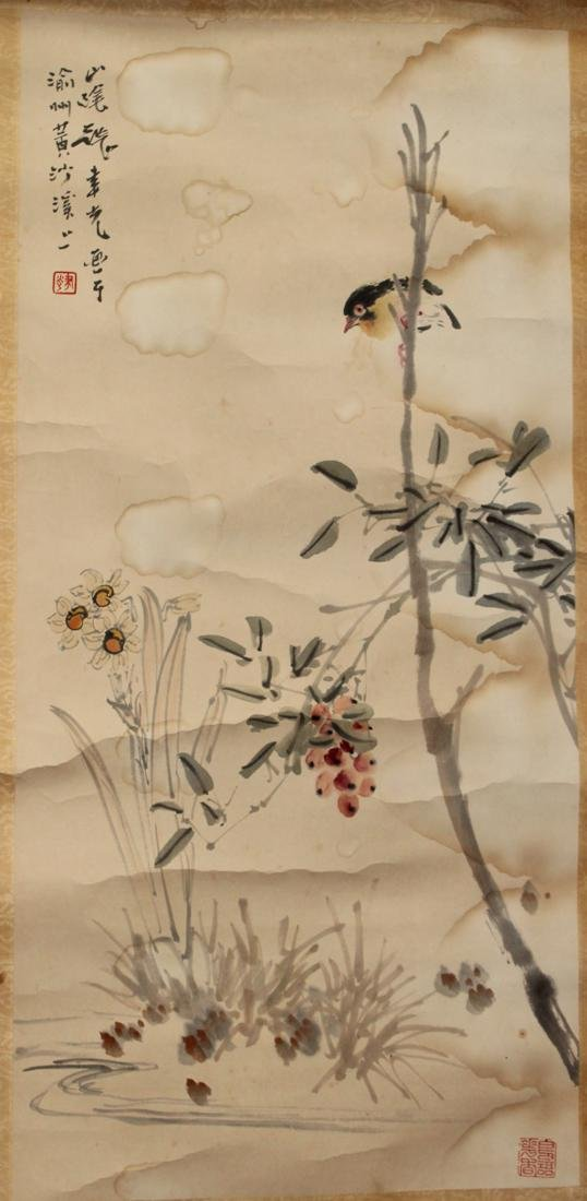 Chinese Scoll Painting of Bird with Flower