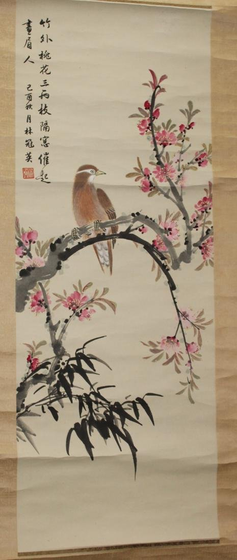 Chinese Scroll Painting of Bird with Peach Flower