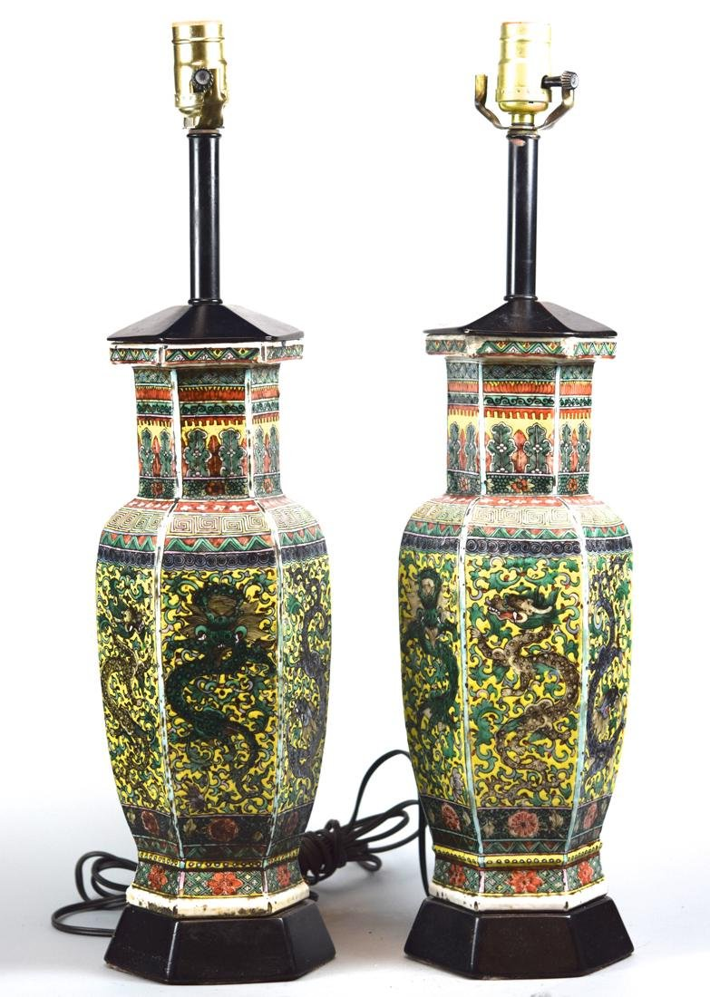 Pair Chinese Porcelain Hexagonal Vases Lamps