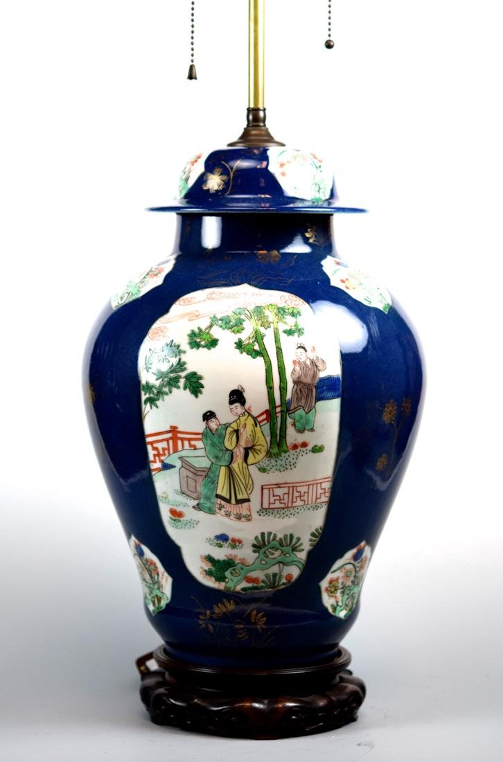 Chinese Famille Verte Covered Vase lamp