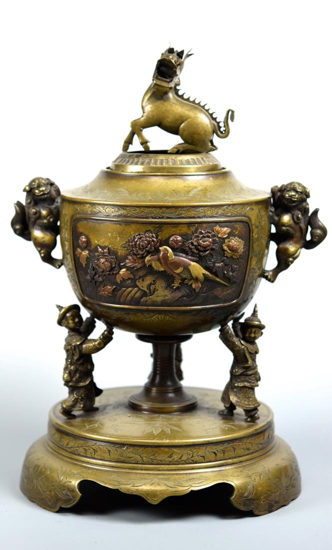 Japanese Mixed Metal Bronze Censer with Kirin Finial