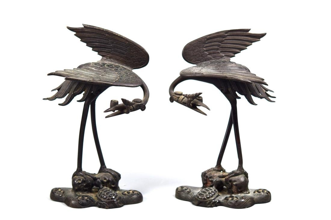 Pair Japanese Bronze Crane with Turtles