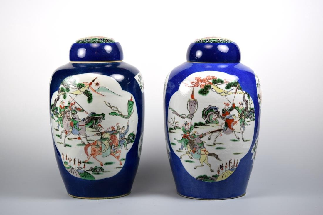 Pair Chinese Famille Verte Porcelain Covered Vases