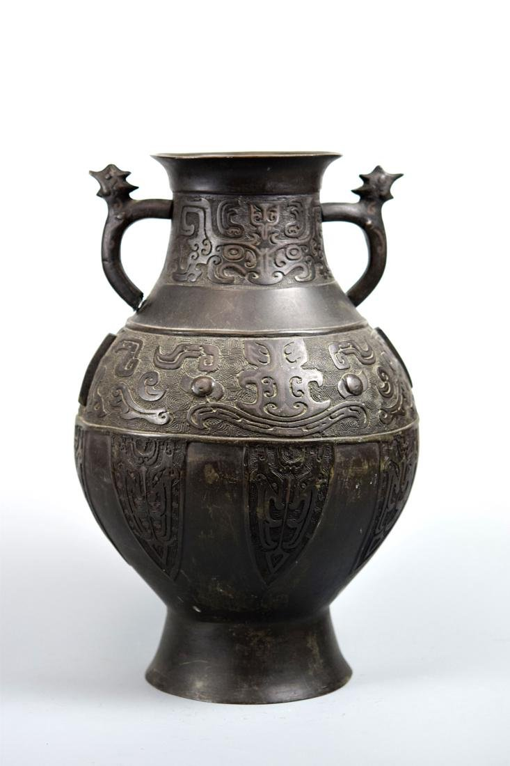 Chinese Bronze Vase with Silver Inlay