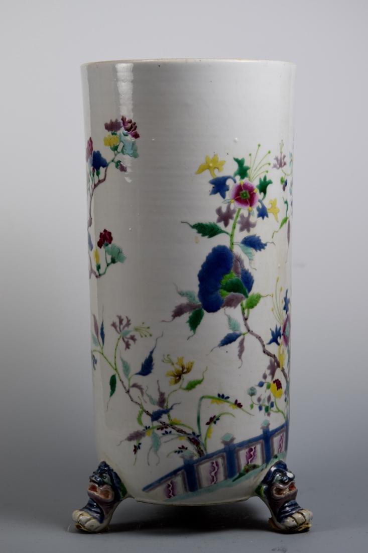 Chinese Famille Rose Porcelain Vase with Copper Liner