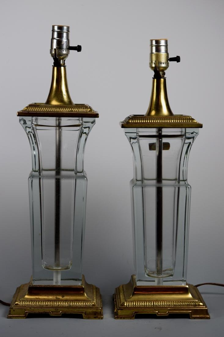 Pair French Crystal Vase Lamps
