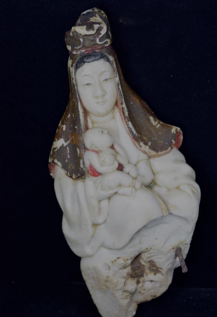 Chinese 17th cen White Marble Kuanyin