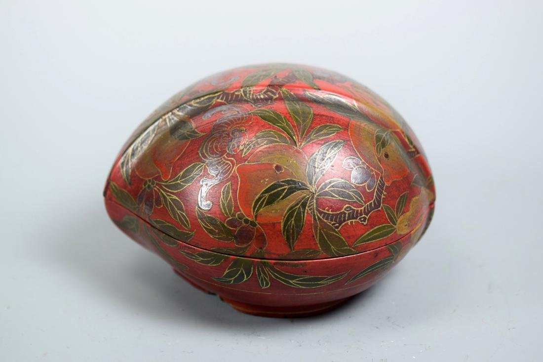Chinese Lacquer Box of Peach and Bat Scene