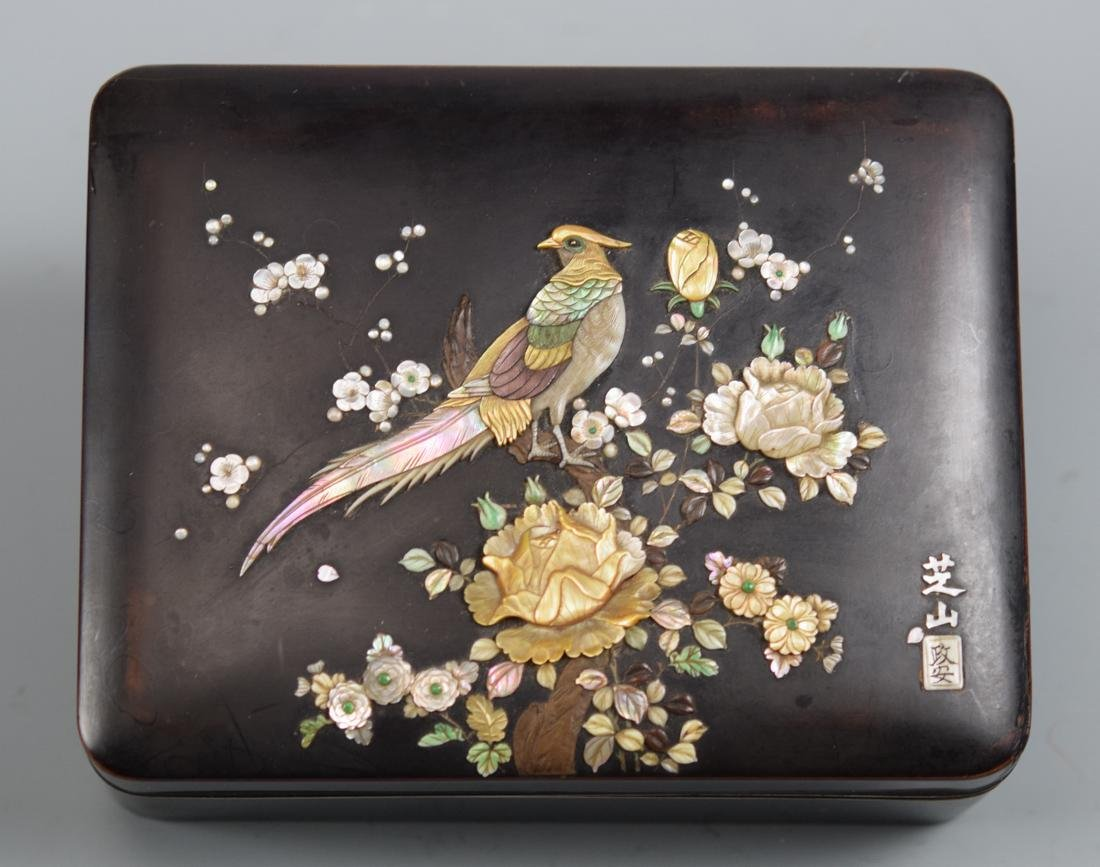 Japanese Lacquer Box with Mother of Pearl Inlay -
