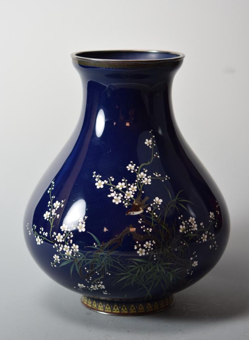 Japanese Cloisonne Vase with Gold Silver Wire Bird -