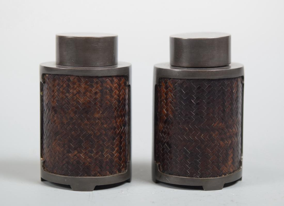 Pair Chinese Pewter Tea Caddy with Bamboo Woven Pattern