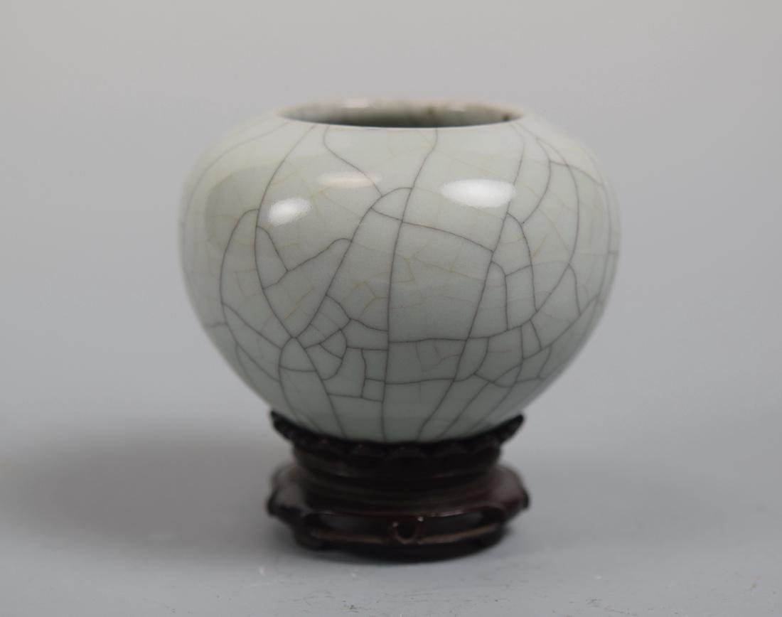 Chinese Guan Crackle Glazed Porcelain Scholar Water Pot