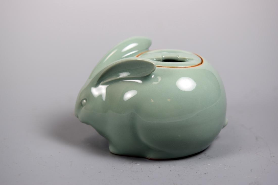 Japanese Studio Celadon Porcelain Rabbit with Dong Zan