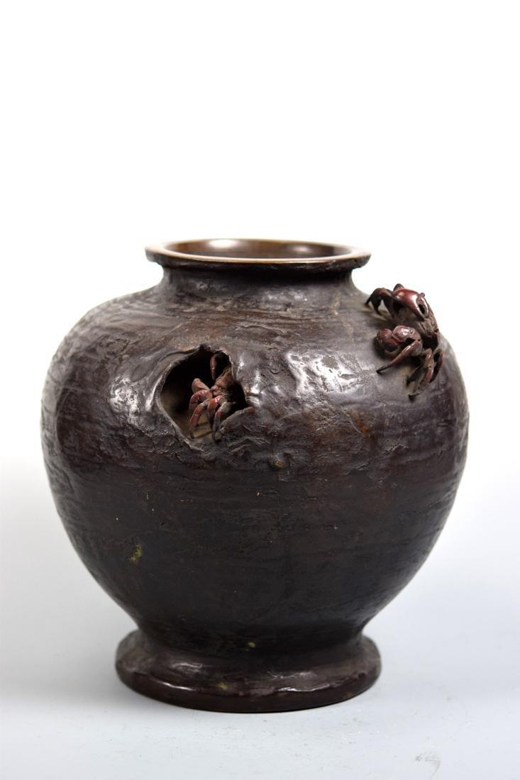 Japanese Bronze Vase with Crab