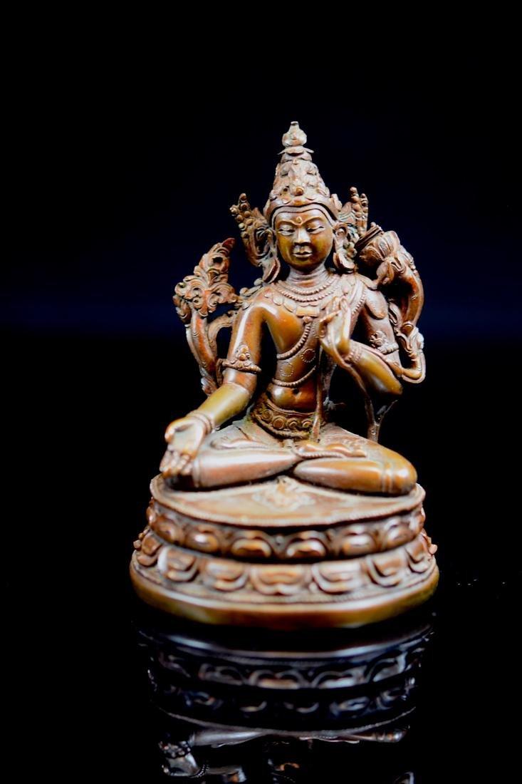 Tibet Nepal Bronze Seated Tara