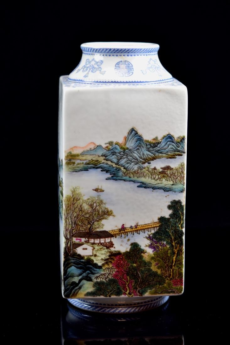Chinese Square Porcelain Vase with Landscape Scene