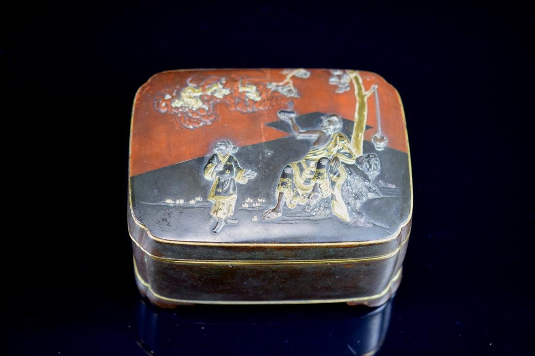 Japanese Mixed Metal Box with Lohan Scene