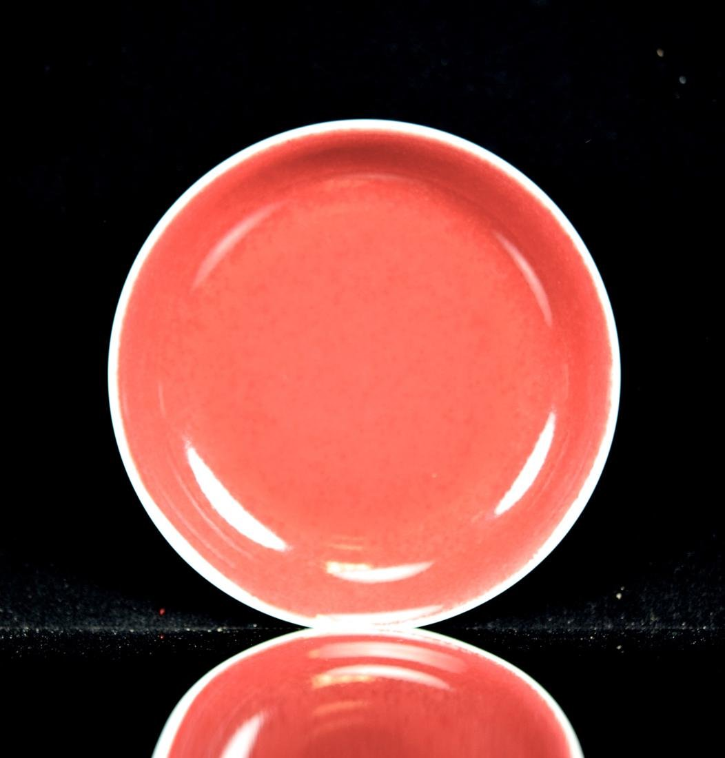 Chinese Oxblood Dish with Old Collection Lable