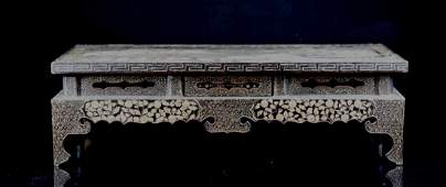 Chinese Ming Lacquer Scholar Table with Mother of Pearl