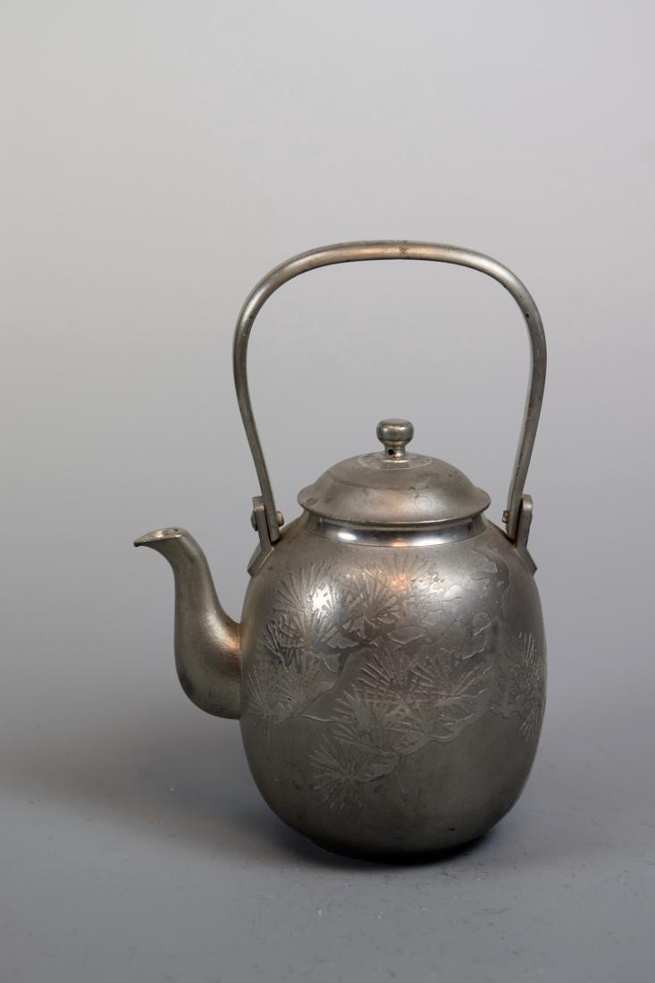 Japanese Pewter Teapot with Pine Motif